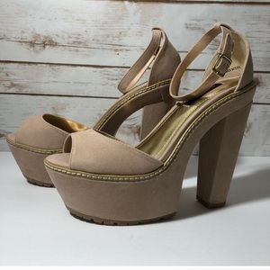 DollHouse taupe peep toe chunky wedge heels